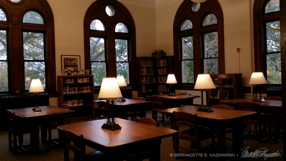 The Reading Room at dusk.