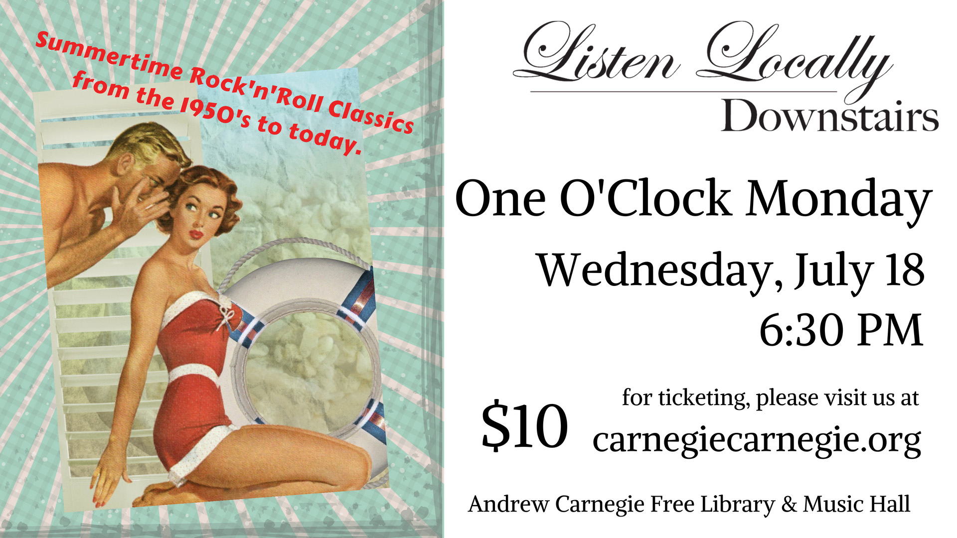 Listen Locally Downstairs with One O'Clock Monday