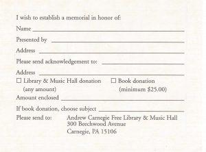 Book Memorial Form