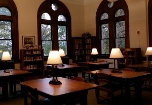 reading room at dusk