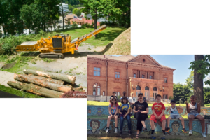 Library park and Bulldozer